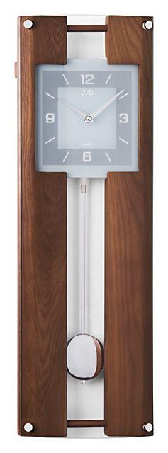 Dřevěné skleněné kyvadlové nástěnné hodiny JVD quartz N12009.11