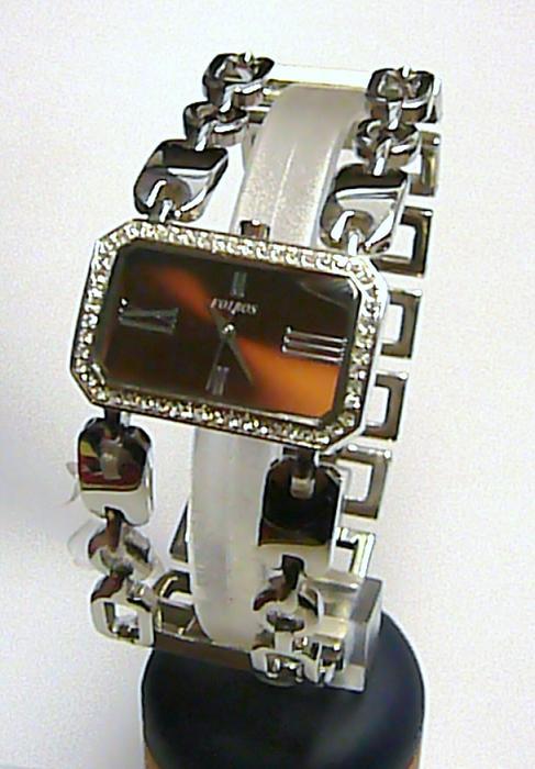 Luxusní stříbrné ocelové hodinky dámské hodinky Foibos 20041 se zirkony