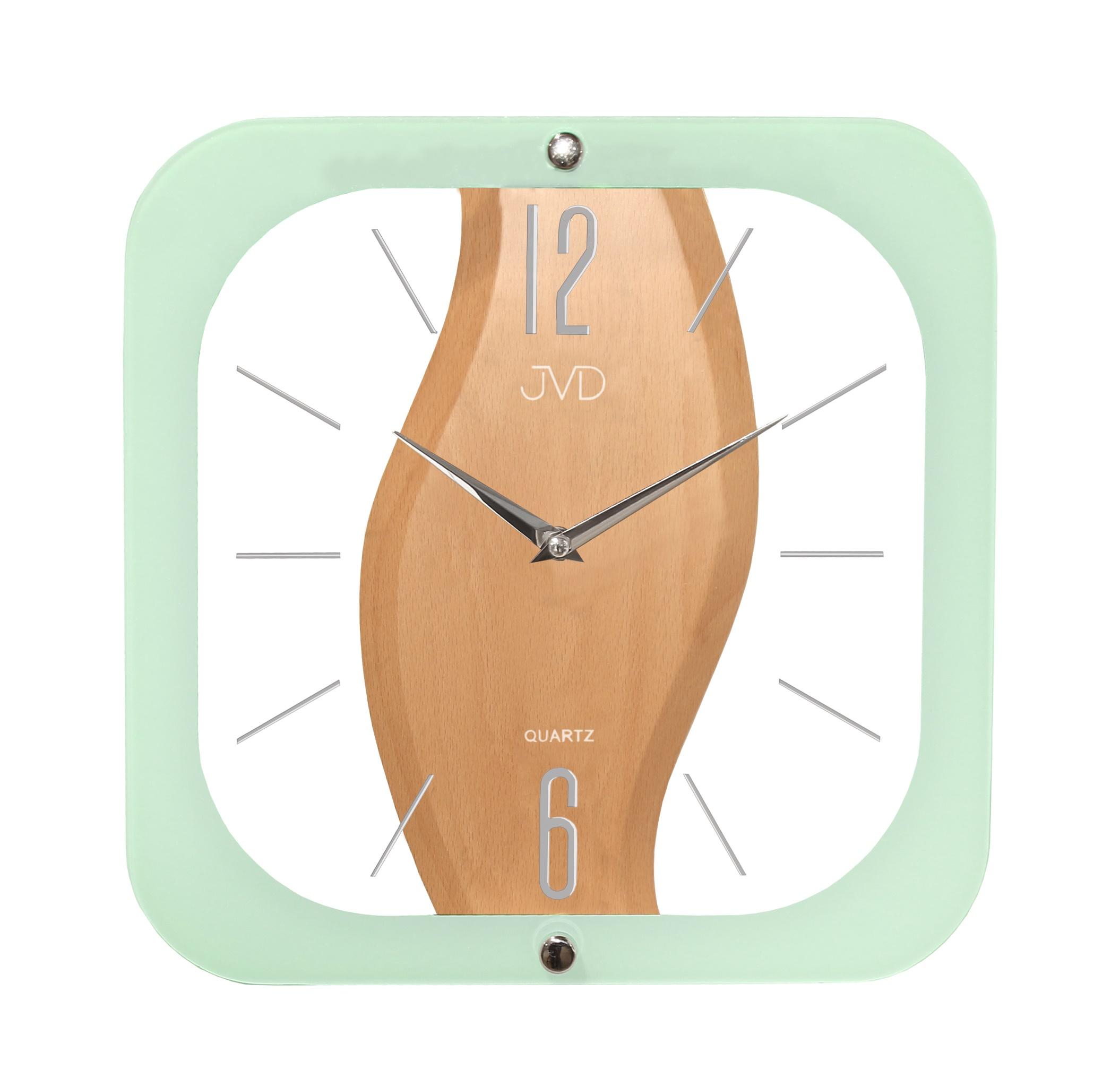Dřevěné skleněné designové nástěnné hodiny JVD N14014.1 - II. jakost ( )