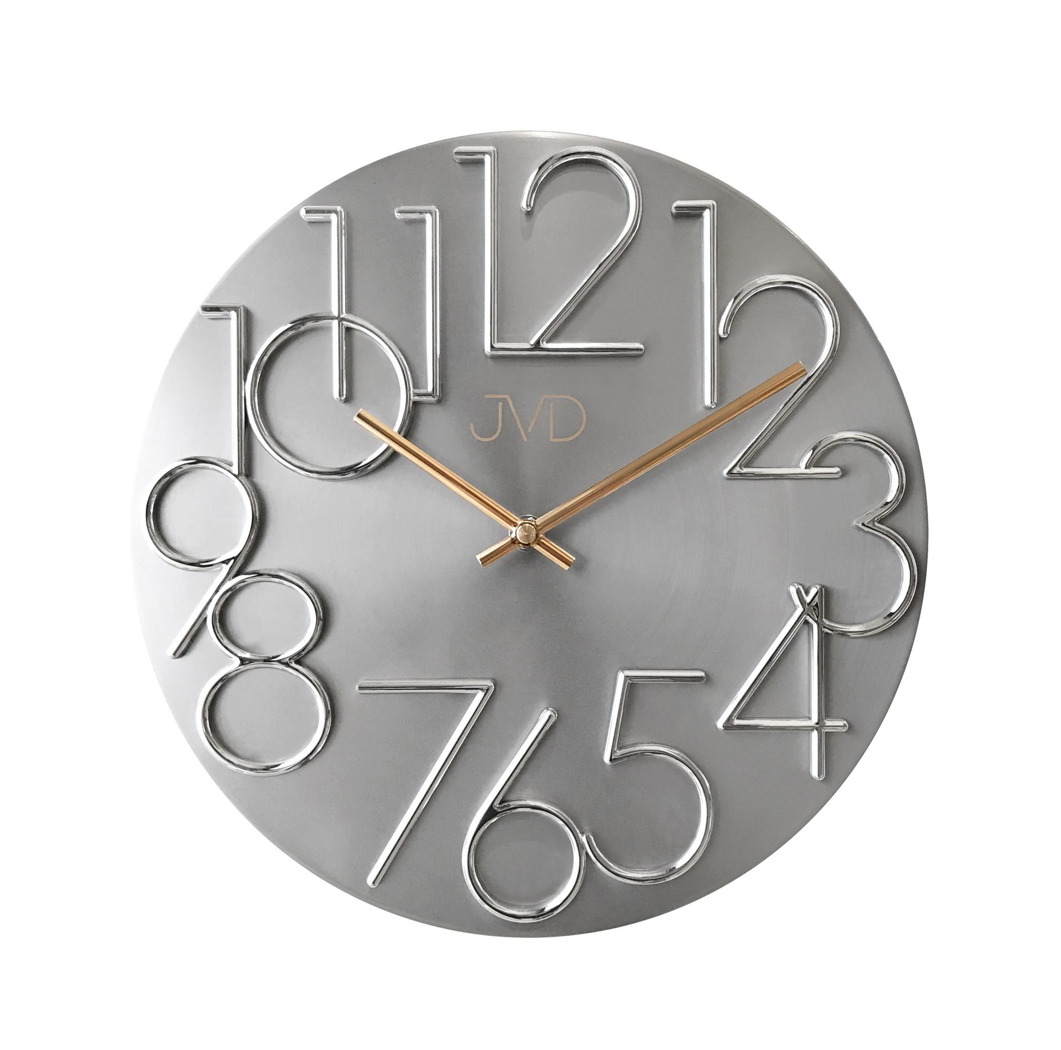Kovové designové nástěnné stříbrné hodiny JVD HT23.1 - II. jakost