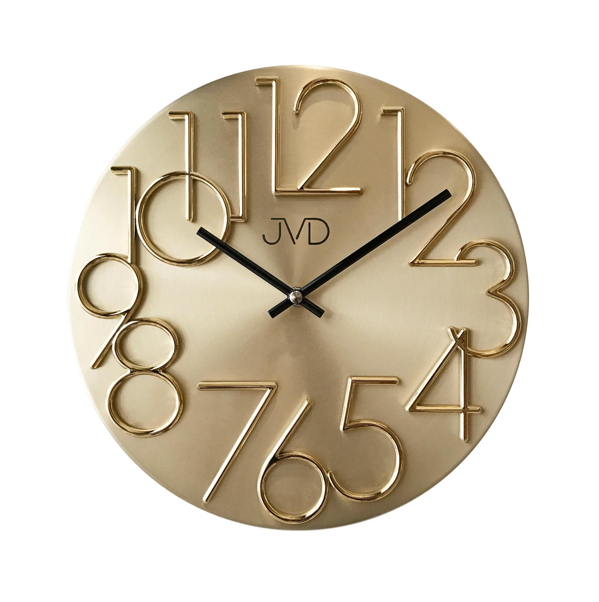 Kovové designové nástěnné zlaté hodiny JVD HT23.2 - II. jakost