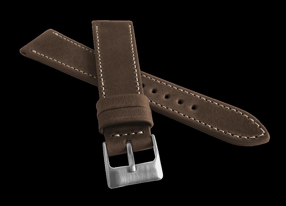 Zúžený hnědý prošitý řemínek LAVVU SPORT z luxusní kůže Top Grain 22mm LSEUC22 (řemínek, pásek na hodinky)