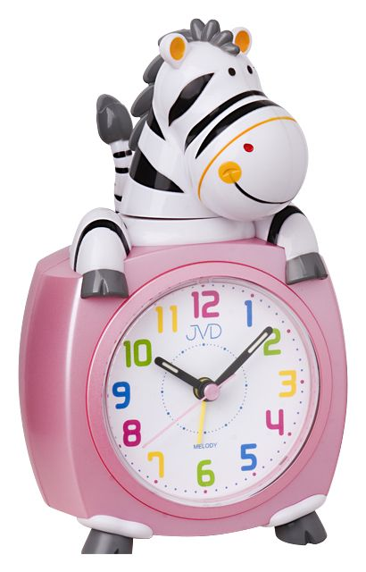 Růžový dětský budík JVD SR932.2 - zebra budík