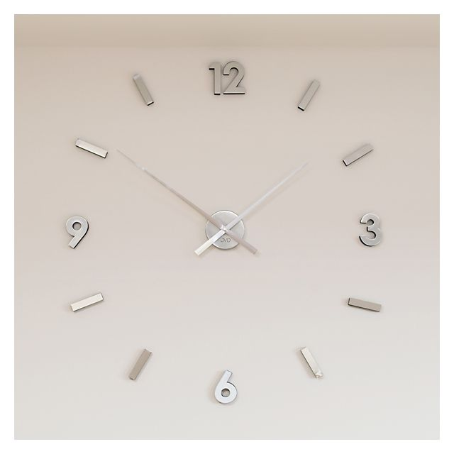 Nalepovací designové nejlevnější hodiny JVD HW53.1 stříbrné na zeď