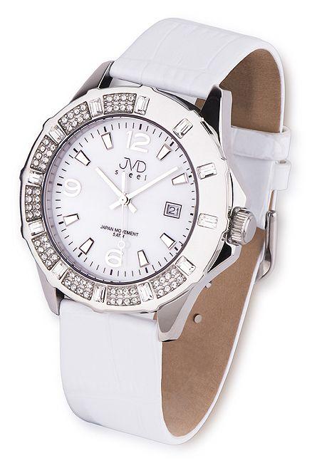 Luxusní bílé dámské náramkové hodinky JVD steel J1033.1