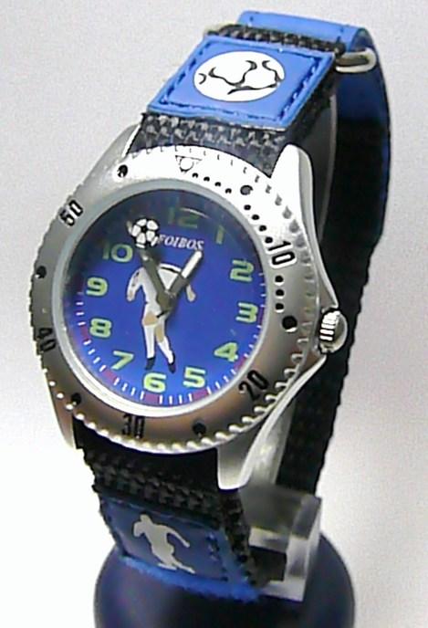 Moderní dětské modré textilní náramkové hodinky s fotbalistou zn. Foibos 2788.2 (Zapínání: na suchý zip)
