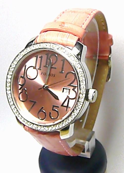 Luxusní moderní růžové ocelové hodinky Foibos 3441.2 na kůži ( ) 59fbaa17e04