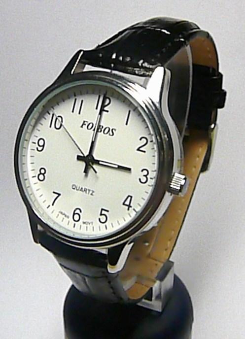 Pánské luxusní ocelové hodinky Foibos 2637G na černé kůži