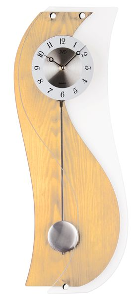 Dřevěné kyvadlové skleněné hodiny JVD quartz N11076.68