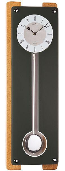 Luxusní skleněné kyvadlové černé hodiny JVD quartz N12032.68