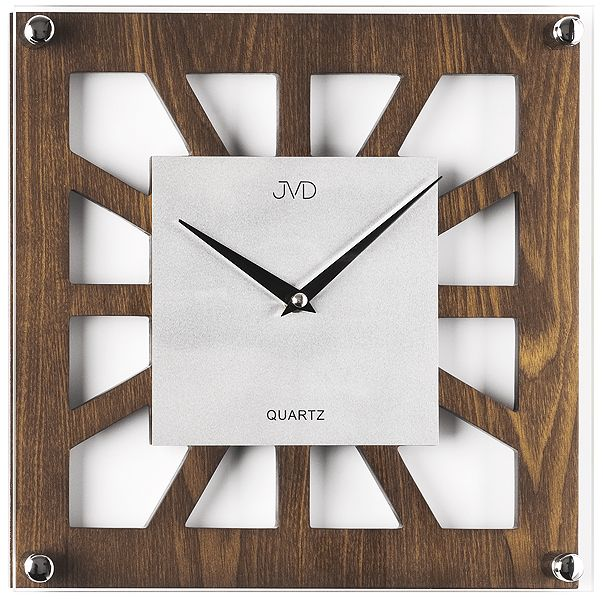 Dřevěné skleněné nástěnné hodiny JVD quartz N127.11