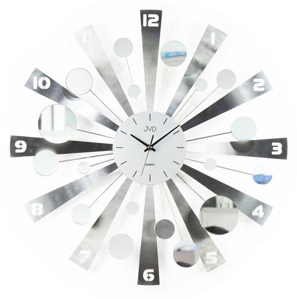 Paprskovité kovové nástěnné designové hodiny JVD HJ04
