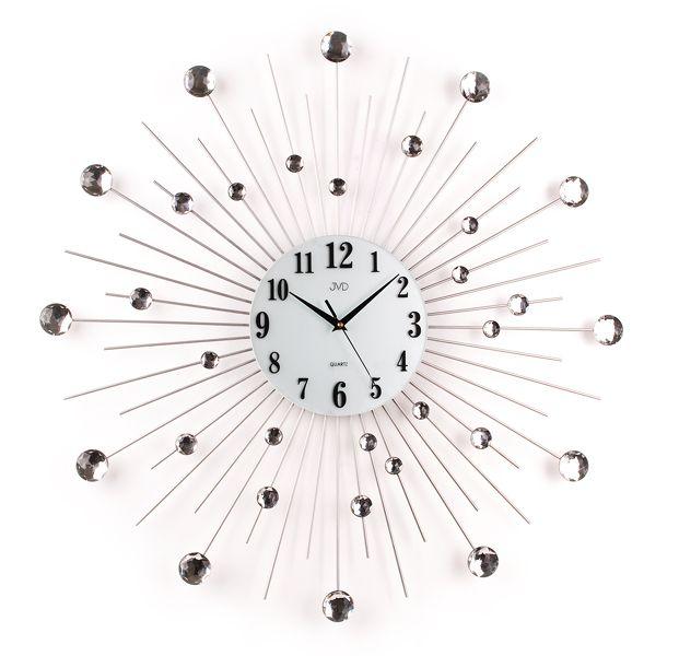 Paprskovité kovové skleněné nástěnné designové hodiny JVD HJ20
