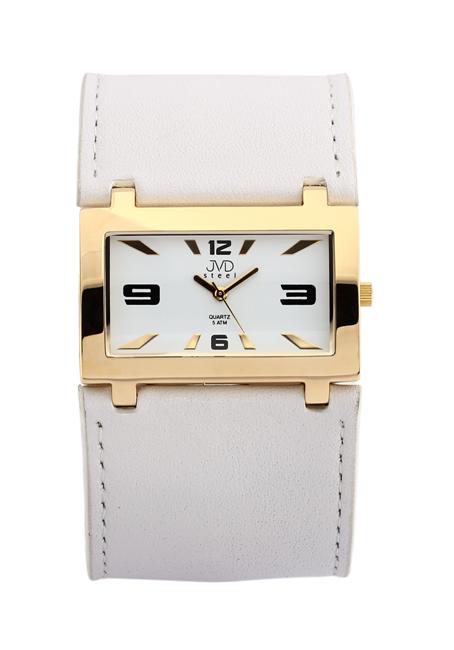Luxusní zlacené široké bílé dámské hodinky JVD J1047.3