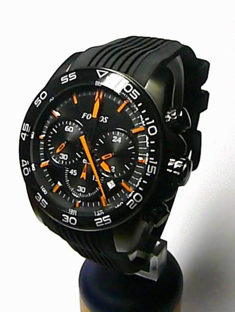 Černé ocelové chronograf pánské hodinky Foibos 1M78 s oranžovými rafičkami ( )