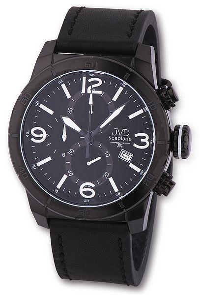 Černé odolné chronografy náramkové hodinky JVD seaplane JS24.2