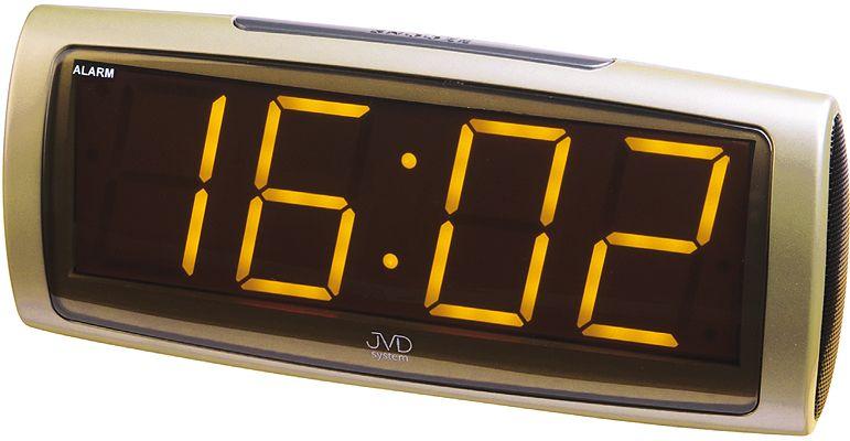 Zlatý moderní digitální budík JVD system SB1819.5 se žlutými číslicemi