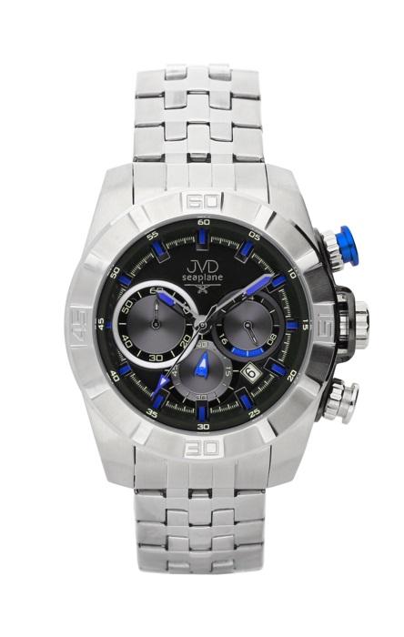 Ocelové chronografy hodinky JVD seaplane JS28.1 - 10ATM