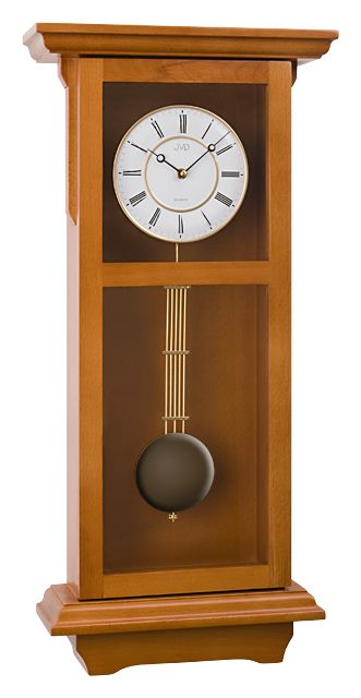 Dřevěné kyvadlové hnědé skříňové hodiny JVD N11029.41