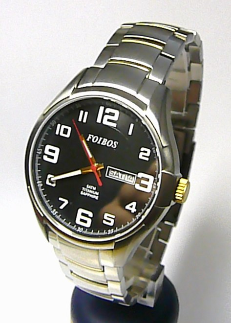 Titanové pánské vodotěsné hodinky Foibos 90173-1 se safírovým sklem 5ATM