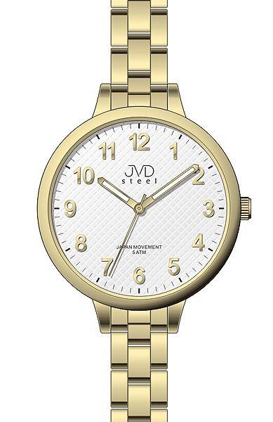 Dámské zlacené náramkové hodinky JVD steel J4113.3