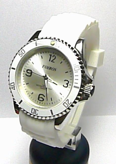 Luxusní dámské bílé vodotěsné ocelové hodinky Foibos 3857