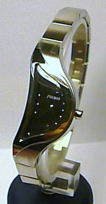 Dámské luxusní stříbrné módní hodinky Foibos 8G82.1 SLZA s černým číselníkem