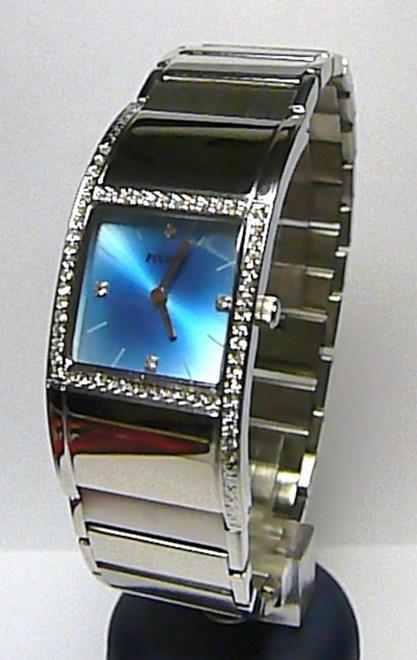 Dámské ocelové moderní hodinky Foibos 1H50 s modrým číselníkem a zirkony ( )