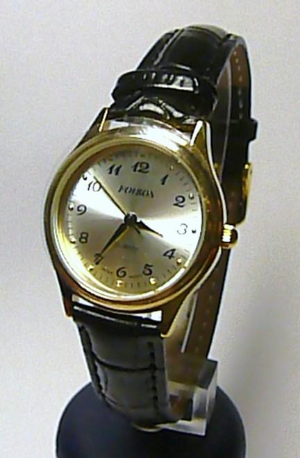 Dámské elegantní ocelové zlacené hodinky Foibos 445.5 na černém koženém pásku