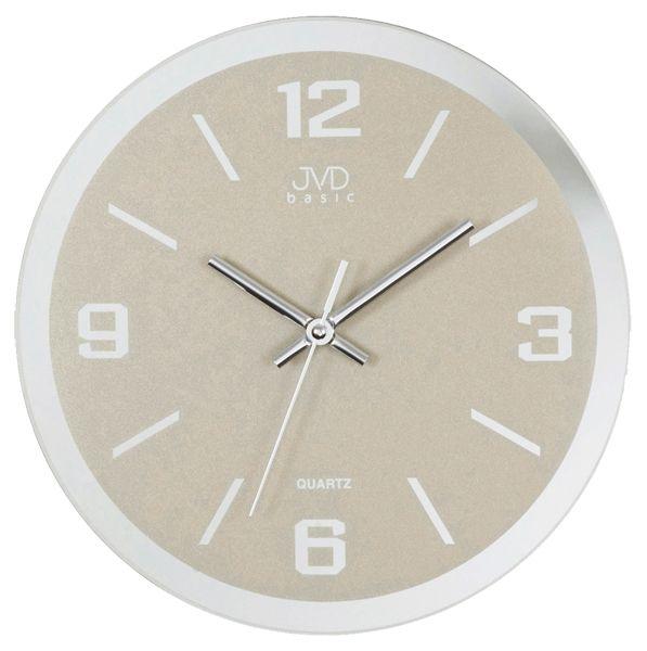 Skleněné šedivé nástěnné hodiny JVD quartz N27033.1