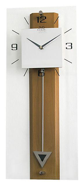 Dřevěné skleněné kyvadlové velké nástěnné hodiny JVD quartz N2233.11 ( )