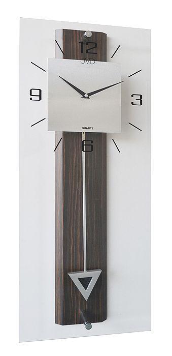 Tmavě dřevěné skleněné kyvadlové nástěnné kyvadlové hodiny JVD N2233/77 (POŠTOVNÉ ZDARMA!!)