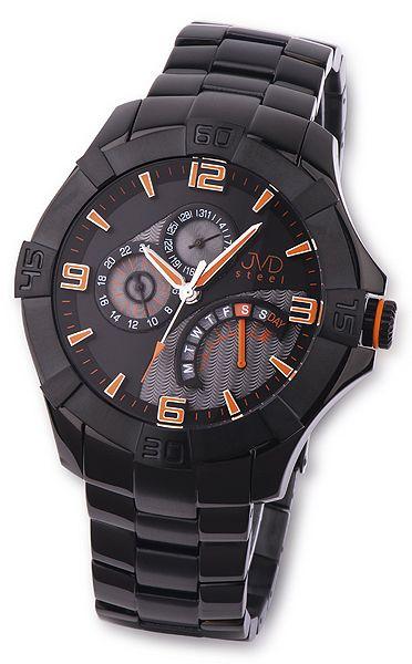 Černé luxusní odolné pánské nerezové náramkové hodinky JVD steel JA620.4 5ATM