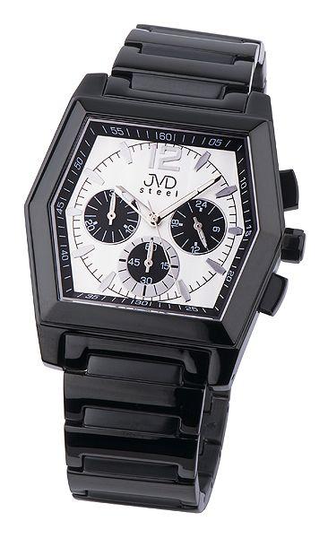 Moderní ocelové černé pánské náramkové hodinky JVD steel C1126.3
