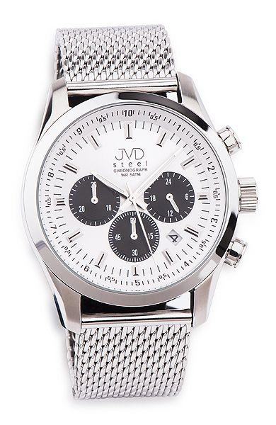 Luxusní chronograf náramkové ocelové hodinky JVD steel JA534.1 se stopkami