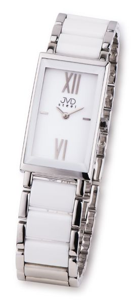 Dámské luxusní bílé keramické hodinky JVD steel W23.2 (bílá keramika)