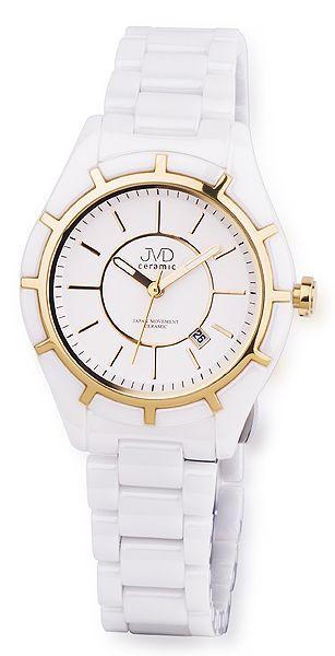 Luxusní bílé společenské keramické zlacené náramkové hodinky JVD ceramic J6007.3 (POŠTOVNÉ ZDRAMA!!)
