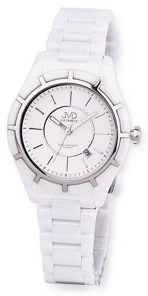 Luxusní bílé společenské keramické náramkové hodinky JVD ceramic J6007.1