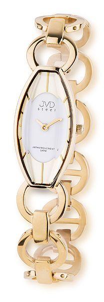 Zlaté luxusní dámské náramkové hodinky JVD steel J4094.3 - 5ATM