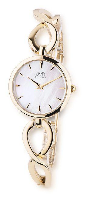 Dámské ocelové zlaté moderní náramkové hodinky JVD steel JA098.3