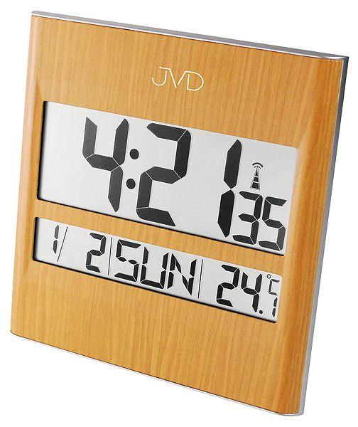 Světle hnědé módní rádiem řízené digitální hodiny JVD RH111 (na zeď i stolní)