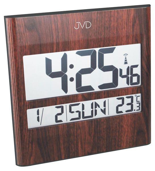 Tmavě hnědé dřevěné rádiem řízené digitální hodiny JVD RH111.1 (na zeď i stolní)hodiny JVD RH111.1