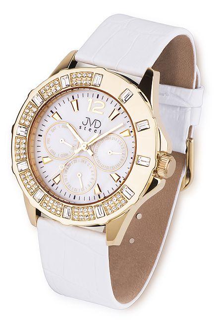 Dámské kožené zlaté náramkové hodinky JVD steel J1046.3 (POŠTOVNÉ ZDARMA!!!)