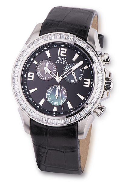 1b00e3df851 Dámské vodotěsné ocelové chronografy černé hodinky JVD steel C2089.2 10ATM