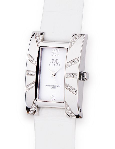 Luxusní bílé dámské náramkové hodinky JVD steel J4102.1