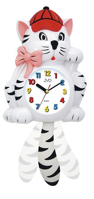 Dětské nástěnné hodiny JVD HF 64.2 kocour s kyvadlem