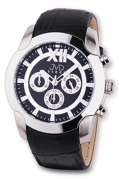 Pánský luxusní chronograf černé vodotěsné hodinky JVD steel C1176.2
