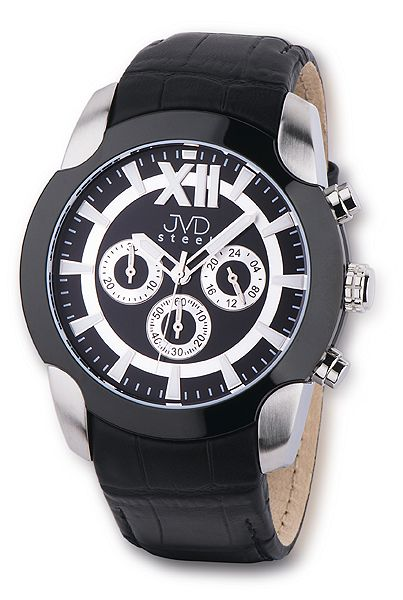 Pánský luxusní chronograf černé vodotěsné hodinky JVD steel C1176.1
