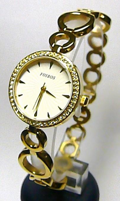 Luxusní zlaté dámské kulaté hodinky Foibos 214561 se zirkony