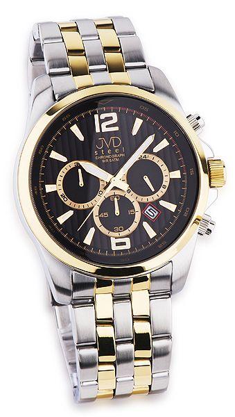 e40b1040204 Luxusní pánský chronograf se stopkami hodinky JVD steel JA601.3 - bicolor